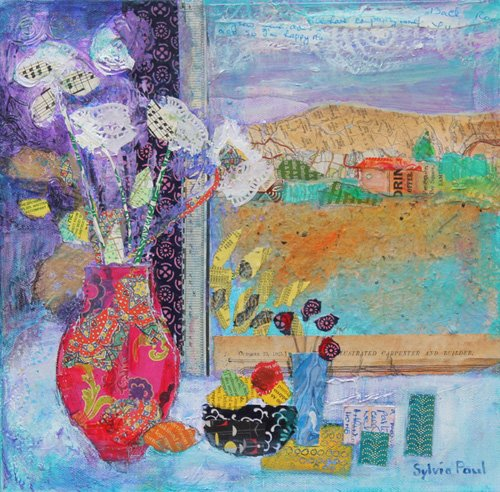 tableaux-modernes - Tableau - Flowers in the Window 2014, acrylic.paper collage- - Paul, Sylvia