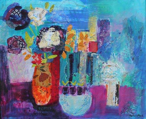 tableaux-modernes - Tableau - Blue Beyond 2013 acrylic.paper collage- - Paul, Sylvia