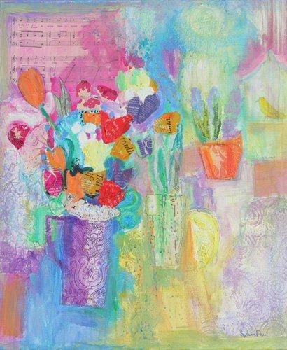 tableaux-modernes - Tableau - That Springtime Feeling 2014, acrylic.paper collage- - Paul, Sylvia