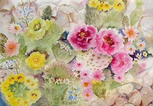 tableaux-pour-hall - Tableau - Blooming Cacti- - Pushparaj, Neela