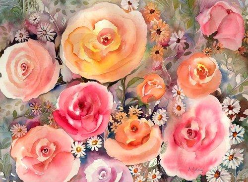 tableaux-pour-hall - Tableau - roes and daisies- - Pushparaj, Neela
