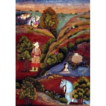 Tableaux orientales - Tableau -Mujer bañandose en el rio- - _Anónimo Persa