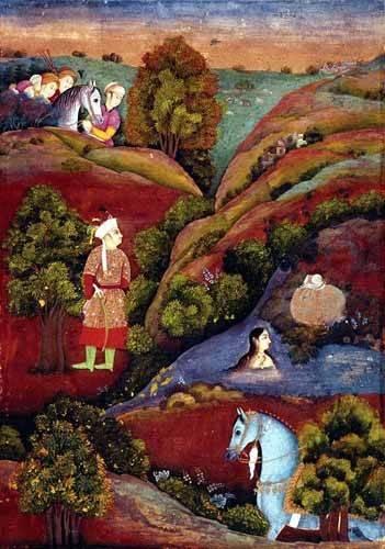 tableaux-orientales - Tableau -Mujer bañandose en el rio- - _Anónimo Persa