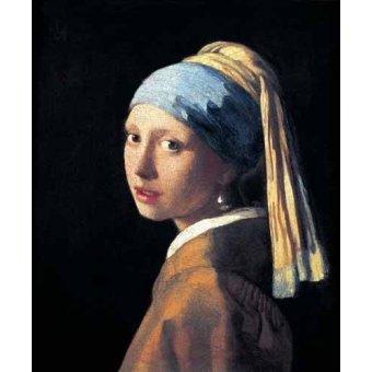 Tableaux de Personnages - Tableau -Jeune fille à la perle- - Vermeer, Johannes