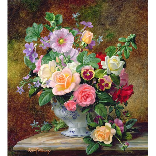 Tableau - Roses, pansies and other flowers in a vase (oil on canvas) -