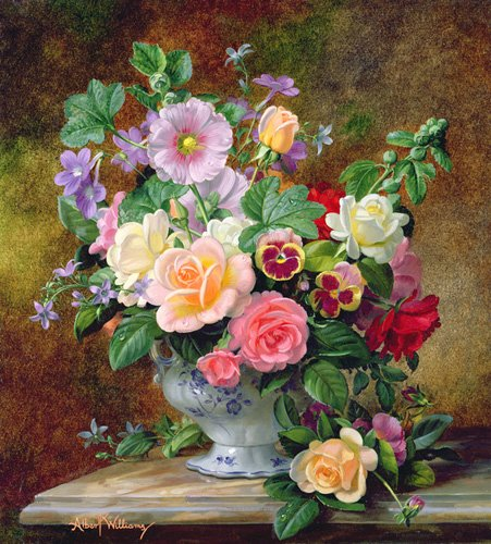 tableaux-de-fleurs - Tableau - Roses, pansies and other flowers in a vase (oil on canvas) - - Williams, Albert