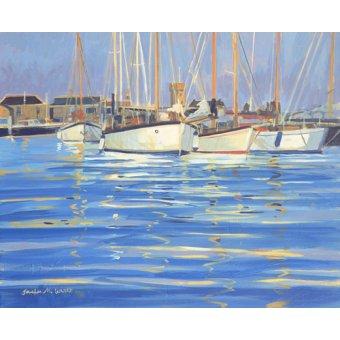 Tableaux de paysages marins - Tableau - Isle of Wight Old Gaffers, 2000 (oil on board) - - Wright, Jennifer