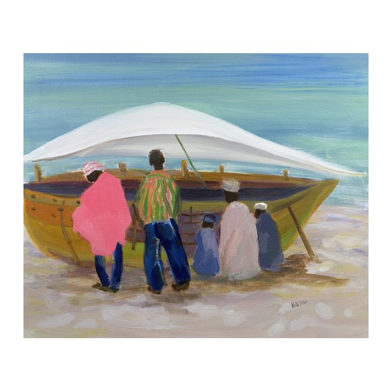 Tableau - Boat Mending (oil on canvas) -
