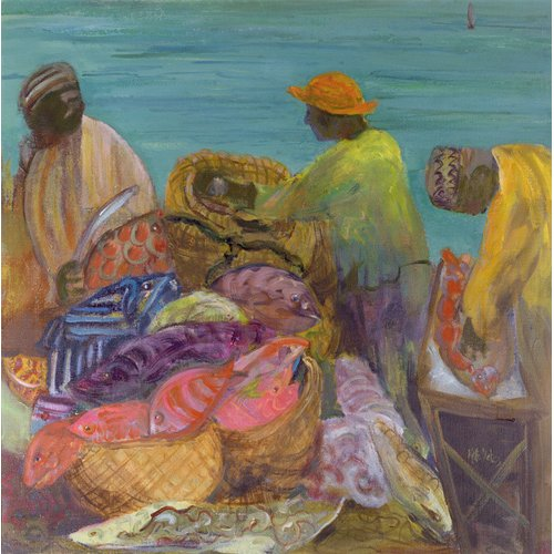 Tableau - Sorting the Catch, Zanzibar (oil on canvas) -