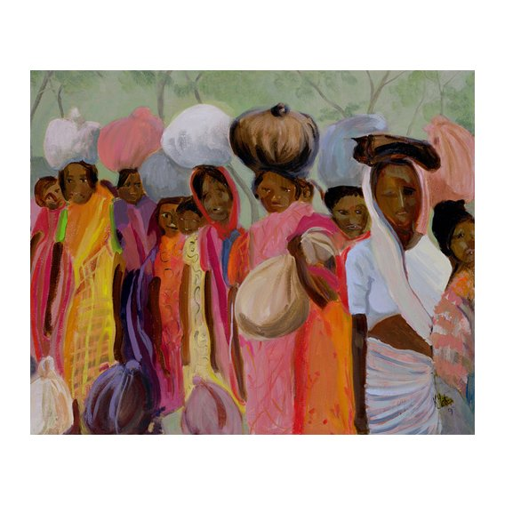 Tableau - Weighing the Tea (oil on canvas) -