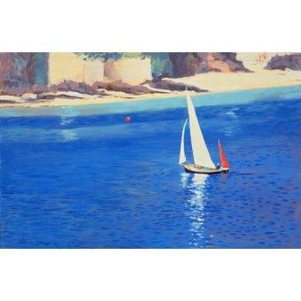 Tableaux de paysages marins - Tableau - Salcombe - Yawl near Millbay, 1999 (oil on board) - - Wright, Jennifer