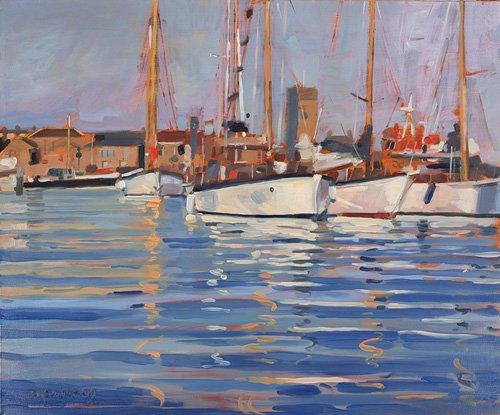 tableaux-de-paysages-marins - Tableau - Isle of Wight - Old Gaffers, 2000 (oil on board) - - Wright, Jennifer
