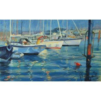 Tableaux de paysages marins - Tableau - Isle of Wight - Yacht Reflections, 2010 (oil on board) - - Wright, Jennifer