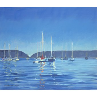 Tableaux de paysages marins - Tableau - Salcombe - Yachts - Twilight (oil on canvas) - - Wright, Jennifer