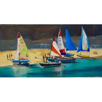 Tableaux de paysages marins - Tableau - Salcombe Smalls Cove Dinghies - - Wright, Jennifer