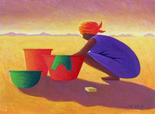 tableaux-orientales - Tableau - Washer Woman, 1999 (oil on canvas) - - Willis, Tilly