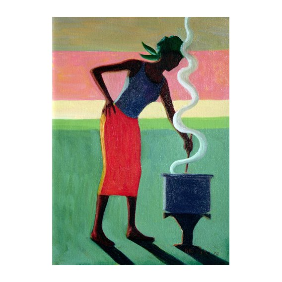 Tableau - Cooking Rice, 2001 (oil on canvas) -