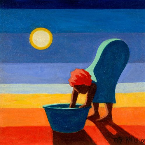 tableaux-orientales - Tableau - Bending Woman, 2005 (oil on canvas) - - Willis, Tilly