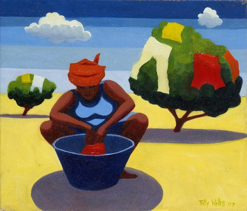 tableaux-orientales - Tableau - A Drying Day, 2007 (oil on canvas) - - Willis, Tilly