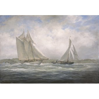 Tableaux de paysages marins - Tableau - Two Classics. 'Aello Beta' and 'Marigold' off the Isle of Wight, 2005 - - Willis, RIchard