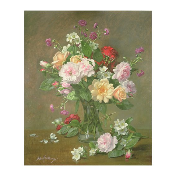 Tableau - Roses and Gardenias in a glass vase (oil on canvas) -