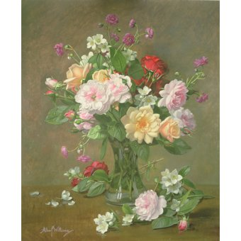 Tableaux de Fleurs - Tableau - Roses and Gardenias in a glass vase (oil on canvas) - - Williams, Albert