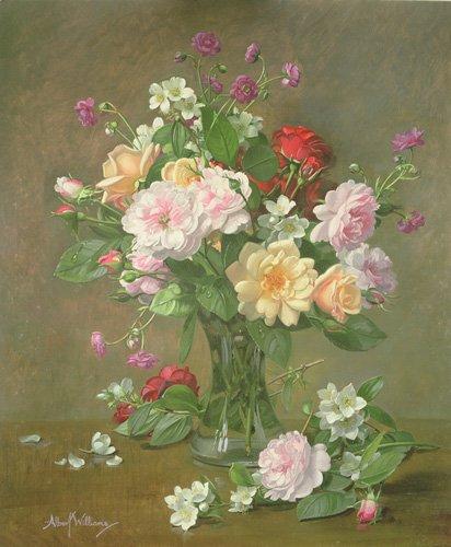 tableaux-de-fleurs - Tableau - Roses and Gardenias in a glass vase (oil on canvas) - - Williams, Albert
