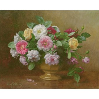 Tableaux de Fleurs - Tableau - AB.119.2 A bowl of roses - - Williams, Albert