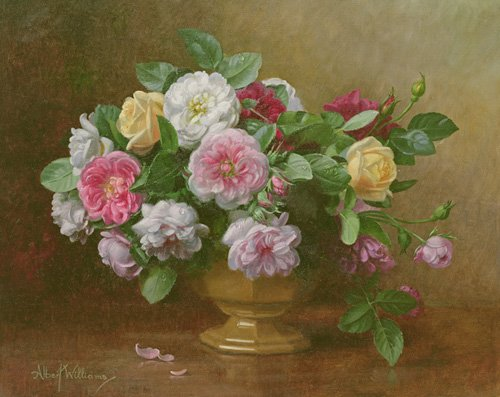 tableaux-de-fleurs - Tableau - AB.119.2 A bowl of roses - - Williams, Albert