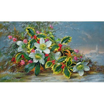 Tableaux de Fleurs - Tableau - Winter roses in a landscape - - Williams, Albert