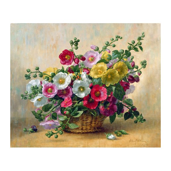 Tableau - AB230 Hollyhocks in a Basket -
