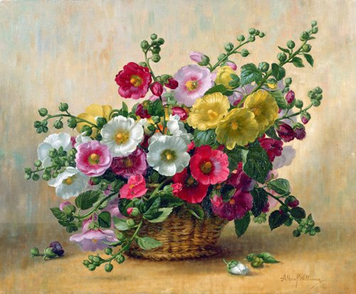 tableaux-de-fleurs - Tableau - AB230 Hollyhocks in a Basket - - Williams, Albert
