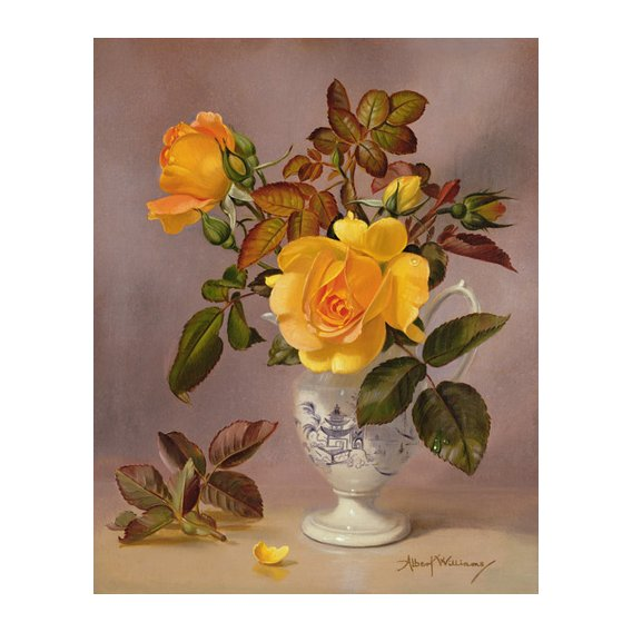 Tableau - Orange Roses in a blue and white jug (oil on canvas) -
