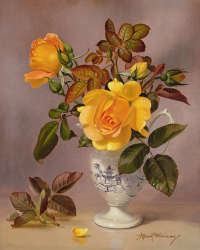 tableaux-de-fleurs - Tableau - Orange Roses in a blue and white jug (oil on canvas) - - Williams, Albert