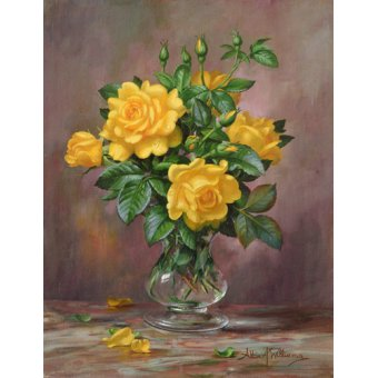 Tableaux de Fleurs - Tableau - AB.303 Radiant Yellow Roses - - Williams, Albert