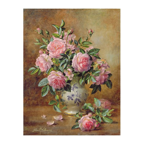 Tableau - A Medley of Pink Roses (oil on canvas) -