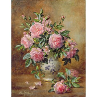 Tableaux de Fleurs - Tableau - A Medley of Pink Roses (oil on canvas) - - Williams, Albert