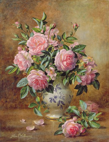 tableaux-de-fleurs - Tableau - A Medley of Pink Roses (oil on canvas) - - Williams, Albert