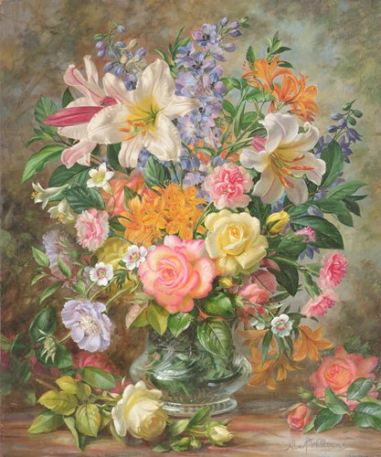 tableaux-de-fleurs - Tableau - The Glory of Summertime (oil on canvas) - - Williams, Albert