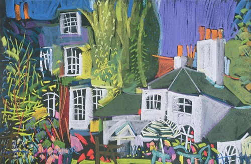 tableaux-de-paysages - Tableau - Time for Tea, Herb Garden in Greenwich Park (pastel on paper) - - Treanor, Frances