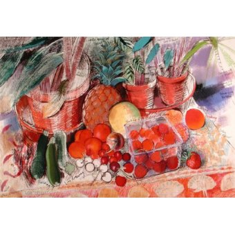 Tableaux nature morte - Tableau - Summer Fruits (pastel on paper) - - Spencer, Claire