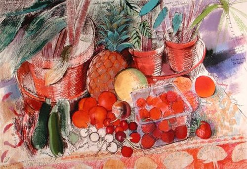 tableaux-nature-morte - Tableau - Summer Fruits (pastel on paper) - - Spencer, Claire