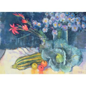 Tableaux nature morte - Tableau - Still Life with Fruit and Flowers (mixed media) - - Spencer, Claire