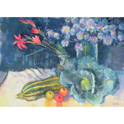 Tableau - Still Life with Fruit and Flowers (mixed media) -