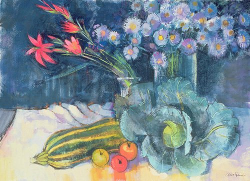 tableaux-nature-morte - Tableau - Still Life with Fruit and Flowers (mixed media) - - Spencer, Claire