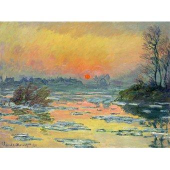 Tableaux de paysages marins - Tableau -Coucher de soleil sur la seine en hiver lac- - Monet, Claude