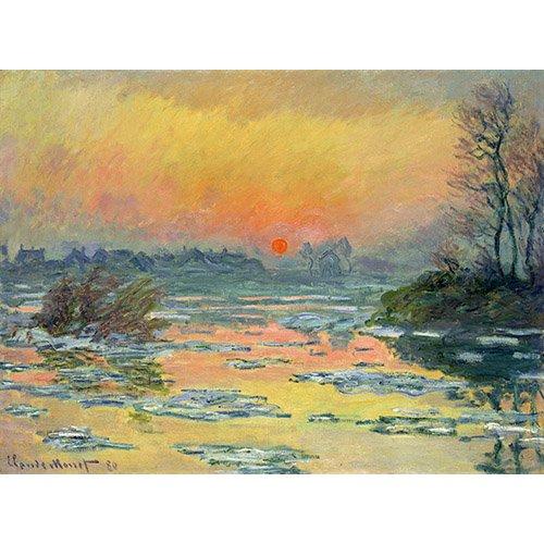 Tableau -Coucher de soleil sur la seine en hiver lac-