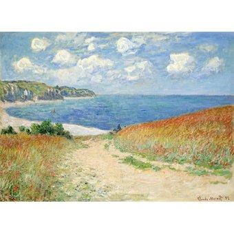 Tableaux de paysages marins - Tableau -Chemin Dans Les Bles a Pourville, 1882- - Monet, Claude