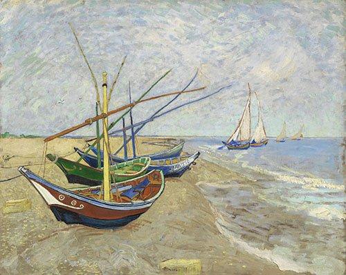 tableaux-de-paysages-marins - Tableau -Bateaux de pêche- - Van Gogh, Vincent