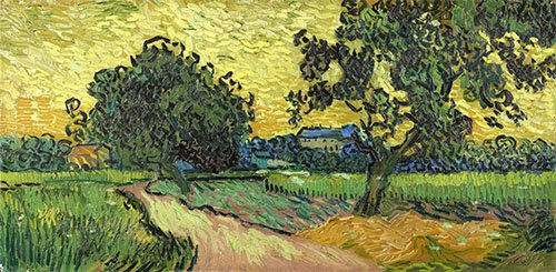 tableaux-de-paysages - Tableau -Paysage au crépuscule, 1890- - Van Gogh, Vincent